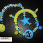 Kinderwagenspielzeug mit Name, 1 Clip und Beisselement