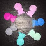 """Pinguin""  (rosa, flieder, blau, mint, türkis, grau, pink)"