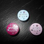 "Motivperle ""Wunschkind"" (babyblau, rosa, dunkelpink)"