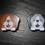 "Motivperle ""Hund"" (braun, grau)"