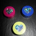 Motivperlen Glitzerherz (d-pink, d-blau, lemon)