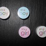 """Motivscheibe """"It's a Boy""""(blau, weiss), """"It's a girl""""(rosa, weiss)"""