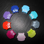 Motivperlen Eulen klein (blau, türkis, grau, lemon, rosa, d-pink, orange, blaulila, d-blau)