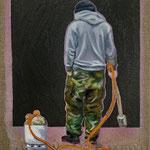 Der Junge mit dem Flammenwerfer 2019 24 x 30 cm Öl/Leinwand