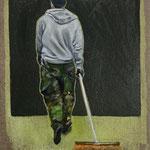 Der Junge mit dem Besen 2019 24 x 30 cm Öl/Leinwand
