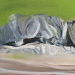 Bettfluchten 2014 90 x 30 cm Öl/Leinwand