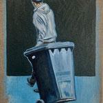 Der Junge mit der blauen Tonne 24 x 30 cm Öl/Leinwand