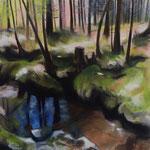 Waldblick III 2018 100 x 100 cm Öl/Leinwand
