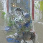 Portrait G. 3 | 2009/10, Eitempera, Pastell, Tusche/Leinwand, 189 x 142 cm