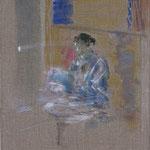 Portrait G. 4 | 2009/10, Eitempera, Pastell, Tusche/Leinwand, 31,5 x 38,5 cm