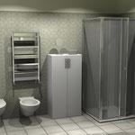 Monolocale - bagno - parete doccia e sanitari