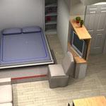 Monolocale - letto aperto