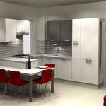 Soggiorno e cucina open space - cucina con penisola e piano snack
