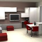 Soggiorno e cucina open space - penisola cucina e mobile soggiorno