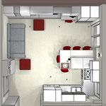 Soggiorno e cucina open space - vista dall'alto