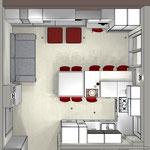 Soggiorno e cucina open space - vista dall'alto con tavolo per gli ospiti