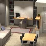 Monolocale - letto chiuso - scrivania richiudibile