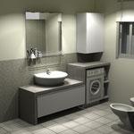 Monolocale - bagno - parete lavabo