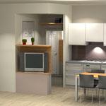 Monolocale - cucina e angolo Tv