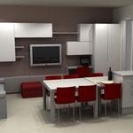 Soggiorno e cucina open space con tavolo per gli ospiti