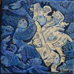 LEIONIS Huile sur toile 20x20 cm