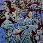 JUZA Huile sur toile 20 x20 cm