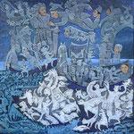 NASHIRA Huile sur toile 60x60 cm