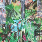 Two deers adventure, Acrylic on canvas, 24 x 18 cm, 2018, available at Deer Daddy - 440 euro
