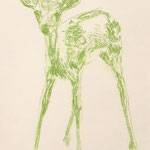 Drawing, serie Green Deers, 40 x 50 cm, 2019, available at Deer daddy - 490 euro incl. frame