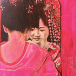 Mirror, Geisha, Acrylic on canvas, 70 x 80 cm, 2018, Available at Deer Daddy Gallery - 1650 euro