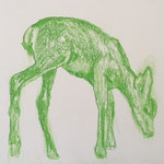 Drawing, serie Green Deers, 30 x 40 cm, 2019, available at Deer daddy - 390 euro