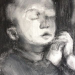 Prayer 6, charcoal on canvas, 20 x 20 cm, 2012, SOLD, Private Collection