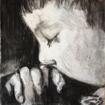 Prayer 1, charcoal on canvas, 20 x 20 cm, 2012, SOLD, Private Collection