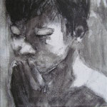Prayer 3, charcoal on canvas, 20 x 20 cm, 2012, SOLD, Private Collection