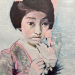 Geisha with her dreams, Acrylic on canvas, 40 x 50 cm, 2021, Available at Deer Daddy Gallery - 990 euro