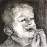 Prayer 9, charcoal on canvas, 20 x 20 cm, 2012, SOLD, Private Collection