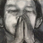 Prayer 4, charcoal on canvas, 20 x 20 cm, 2012, available at Deer Daddy - 250 euro