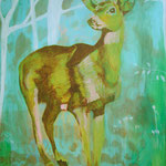 Green deer, Acrylic on canvas, 100 x 130 cm, 2007, SOLD, Private Collection Joppe
