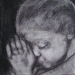 Prayer 5, charcoal on canvas, 20 x 20 cm, 2012, SOLD, Private Collection