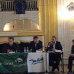 """Podiumsdiskussion mit """"Jungpolitikern"""" und den Schülern der 11. und 12. Klassen im Romain-Rolland-Gymnasium im März 2009"""