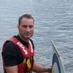 Erste Versuche auf dem Wakeboard - Sommerpausentreff der JU Dresden - 18.07.2009