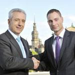 Patrick Schreiber mit Ministerpräsident Stanislaw Tillich in Dresden