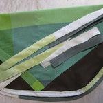 Wäscheklammersack braun mit grünem Bändel