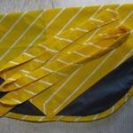 Wäscheklammersack braun mit gelbem Bändel