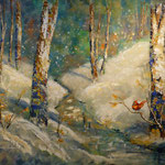 Josée Desharnais, bouleaux et cadinal 48 x 60