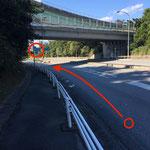④3を過ぎると次の分かれ道が出てきます。ここで左側の道に逸れてください。