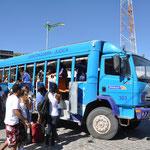 Le bus 4x4 qui nous amène de Jéricoacoara à Jijoca. Ensuite nous prendrons un bus très très confortable pour aller jusqu'à Fortaleza