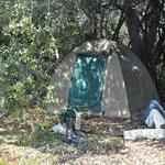 Notre campement sur une île. Pas d'eau, pas d'électricité