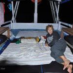 Notre couchage sur le bateau. A la belle étoile (et quelles belles étoiles)
