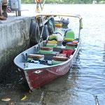 Notre bateau pour remonter le fleuve Preguiças. Il rejoint l'océan